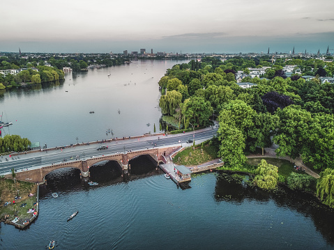 Aerial view to Alster in Hamburg Germany