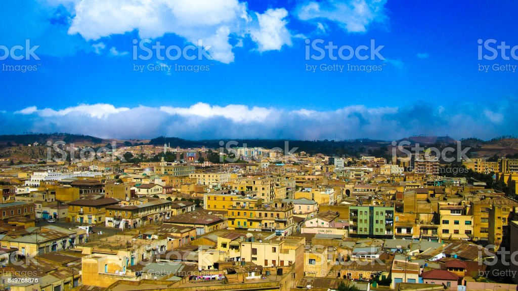Aerial view to Asmara capital of Eritrea stock photo
