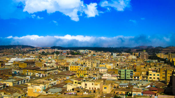 aerial view to asmara capital of eritrea - eritrea stock photos and pictures