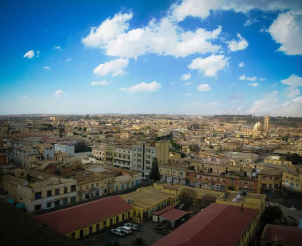 aerial view to asmara, eritrea - eritrea stock photos and pictures
