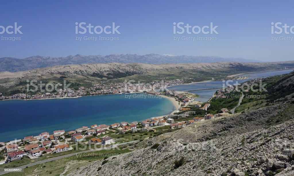 Aerial view to city Pag on Island of Pag in Dalmatia, Croatia stock photo