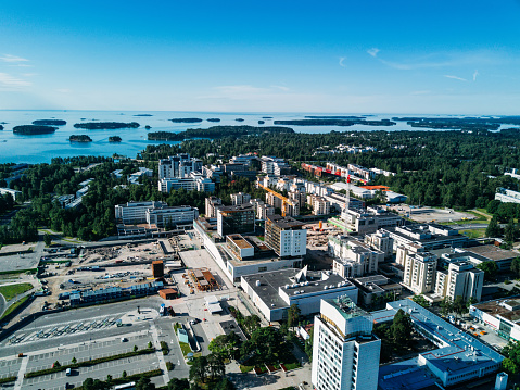 aerial view to Espoo city, Finland