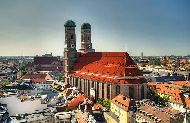 aerial view to frauenkirche church munich germany - münchner frauenkirche stock-fotos und bilder
