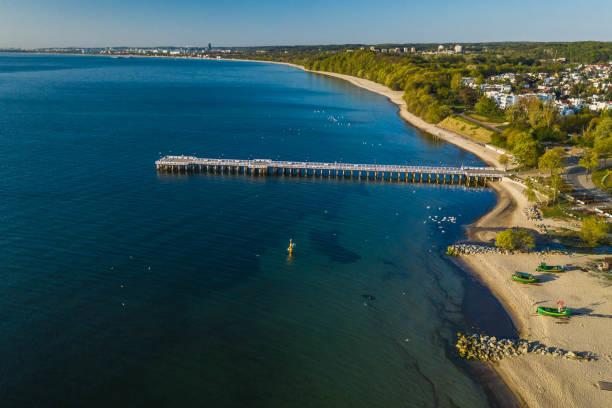Aerial view to Gdynia Orlowo Pier and coastline. stock photo