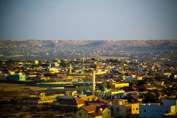 aerial view to hargeisa, biggest city of somaliland, somalia - somalia stock photos and pictures