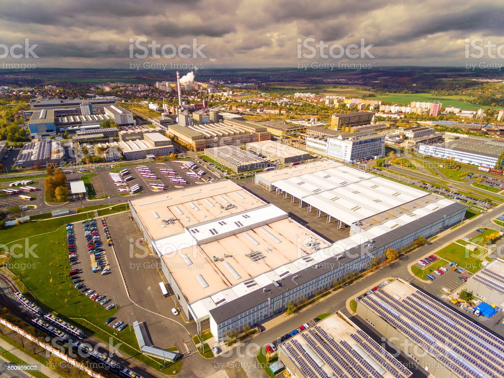 Aerial view to industrial zone and technology park. stock photo