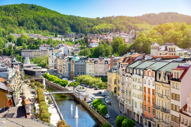 aerial view to karlovy vary city czech republic stock photo