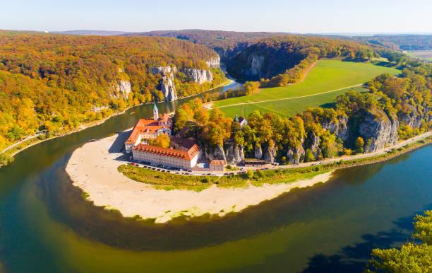 Aerial view to landscape near Weltenburg Abbey - Kloster Weltenburg on the Danube in Bavaria, Germany.. stock photo