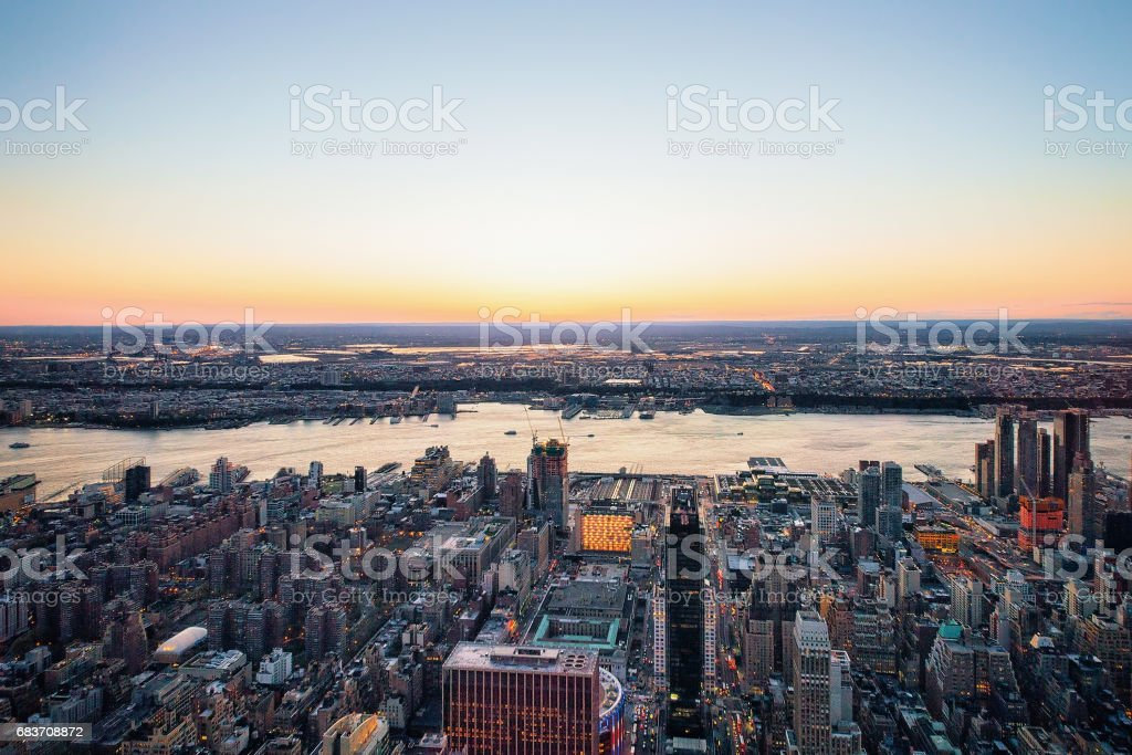 Aerial view to Manhattan West NY and NJ stock photo