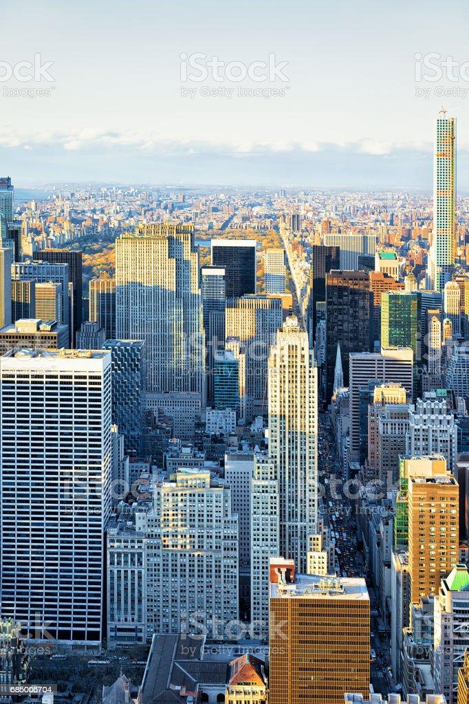 Luftaufnahme nach Midtown Manhattan NY Amerika Lizenzfreies stock-foto