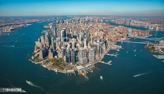View from helicopter to the Manhattan, Brooklyn, Long Island and Jersey City