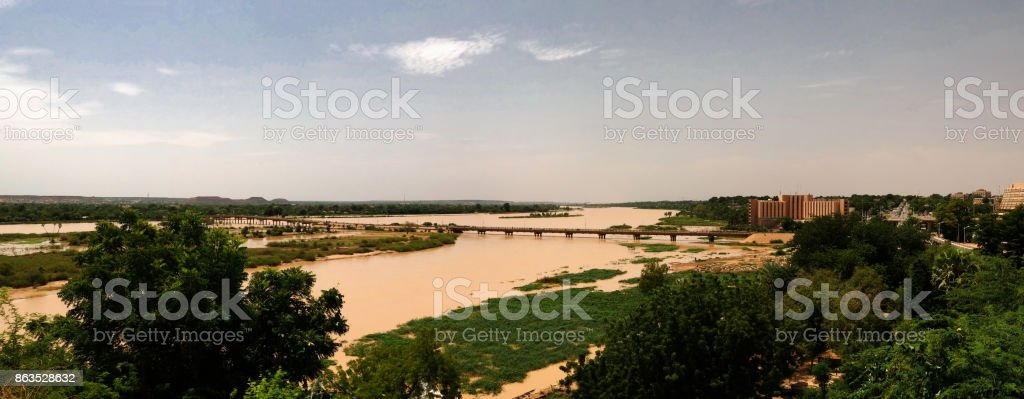 Aerial view to Niger river and Niamey city Niamey Niger stock photo