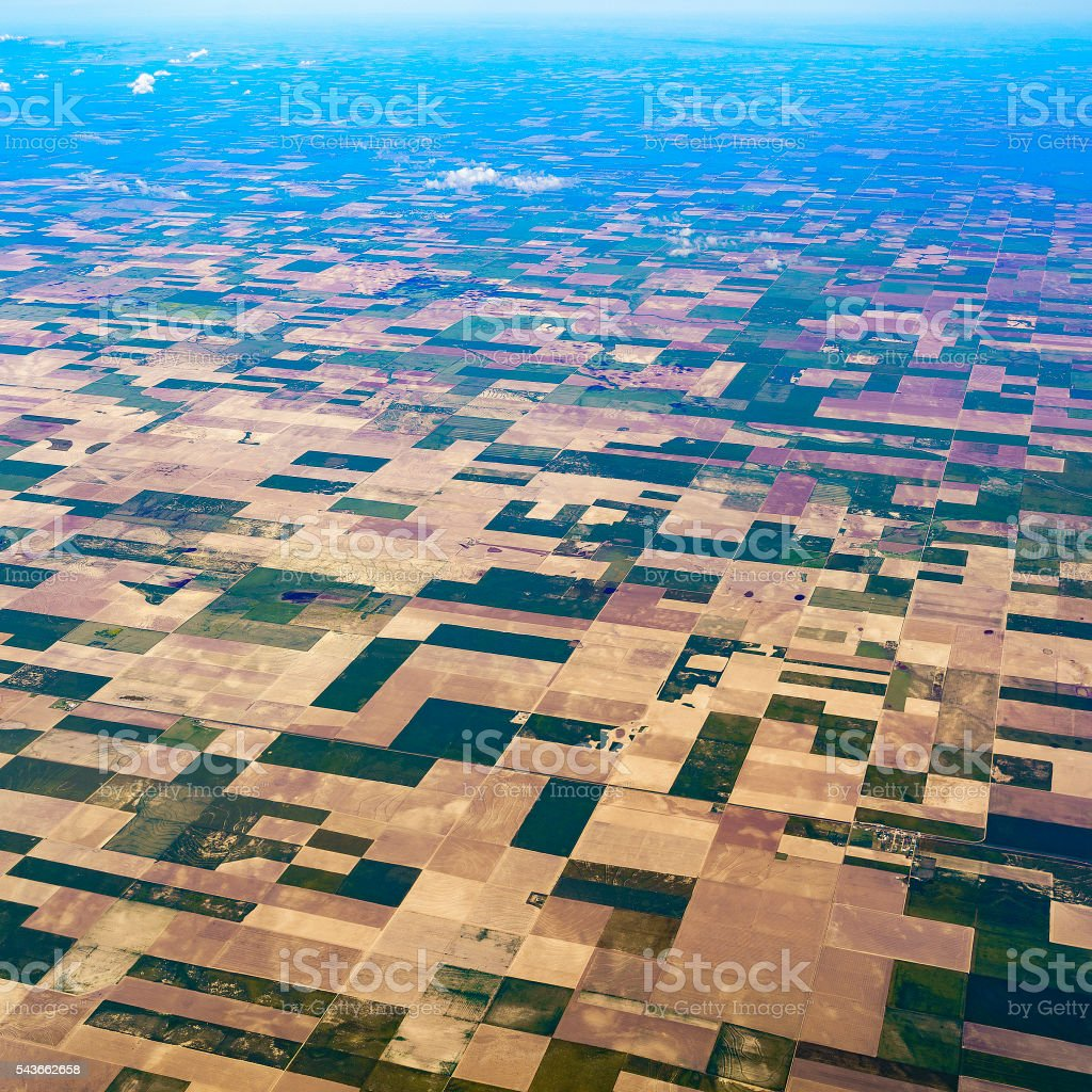 Aerial view to patchwork's fields in middle Kansas, USA stock photo