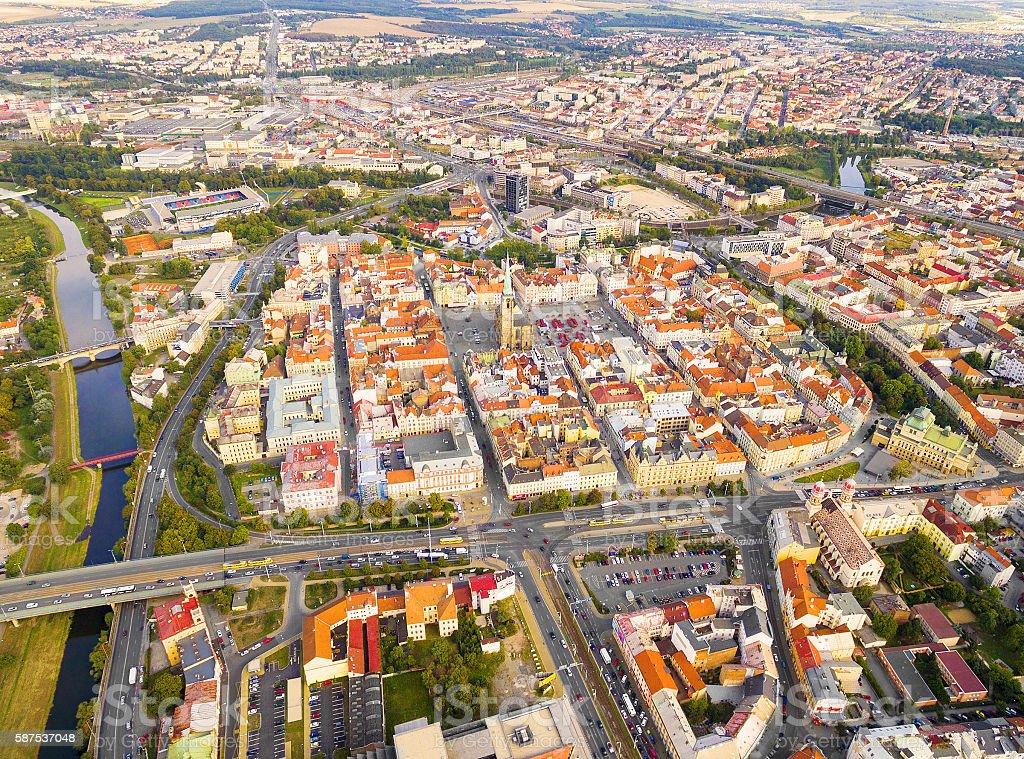 Aerial view to Pilsen City. stock photo