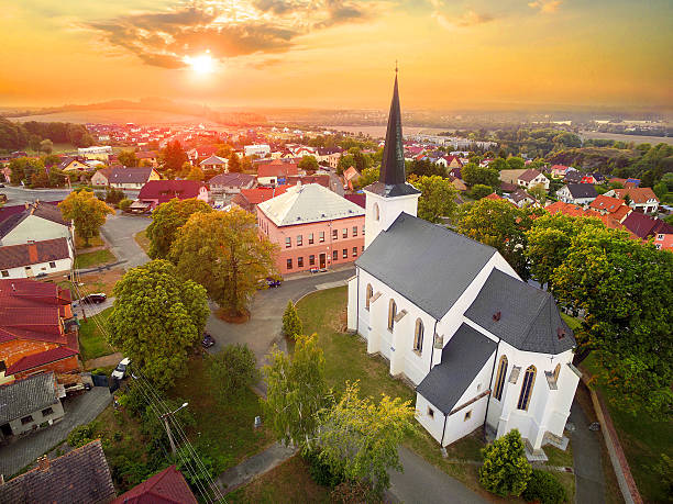 Aerial view to romantic citiscape. stock photo