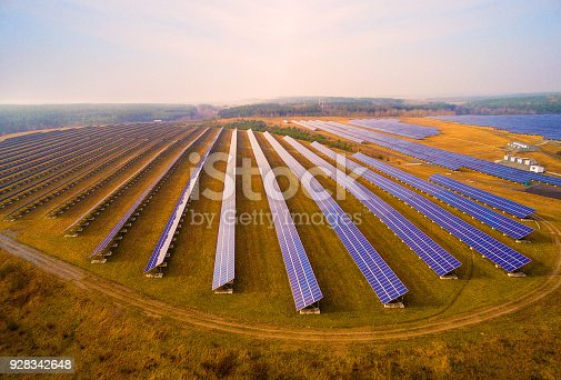 istock Aerial view to solar power plant. 928342648