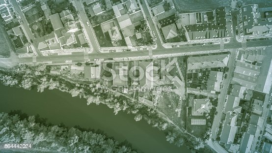 aerial view to street and buildings