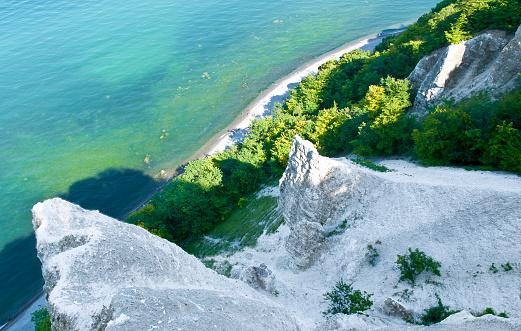 "Aerial view to the famous natural landmark called ""Kreidefelsen"" - Jasmund-Nationalpark - Island Rügen - Baltic Sea - Germany"