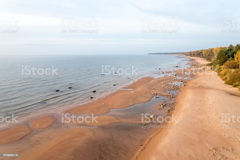aerial view to the Shoreline of Baltic sea beach stock photo