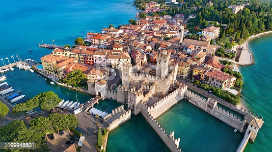 Aerial view to the town of Sirmione, popular travel destination on Lake Garda in Italy