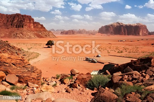 Aerial view to the Wadi Rum desert in Jordan. Wadi Rum also known as The Valley of the Moon is a valley cut into the sandstone and granite rock in southern Jordan.