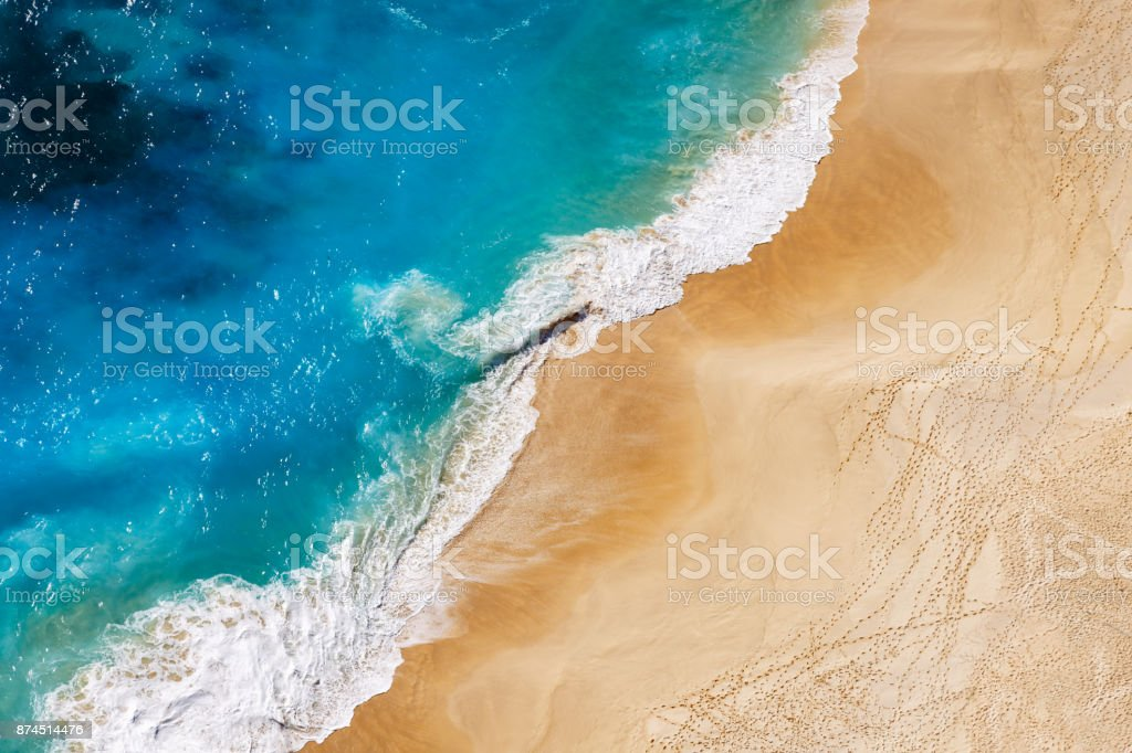 Aerial view to tropical sandy beach and blue ocean stock photo