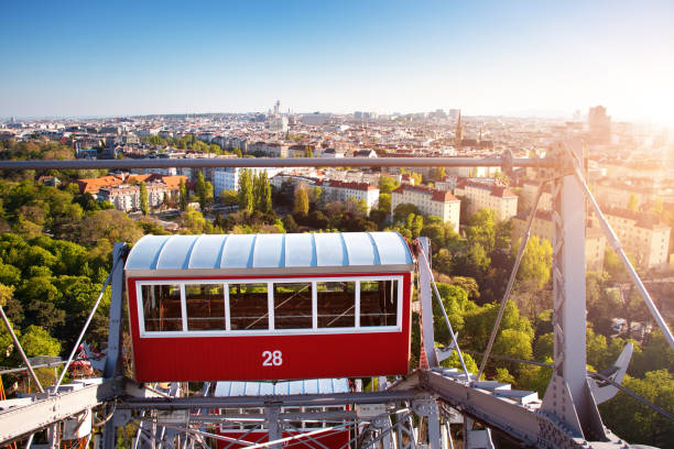 Aerial view to Vienna in Austria from Ferris Wheel stock photo