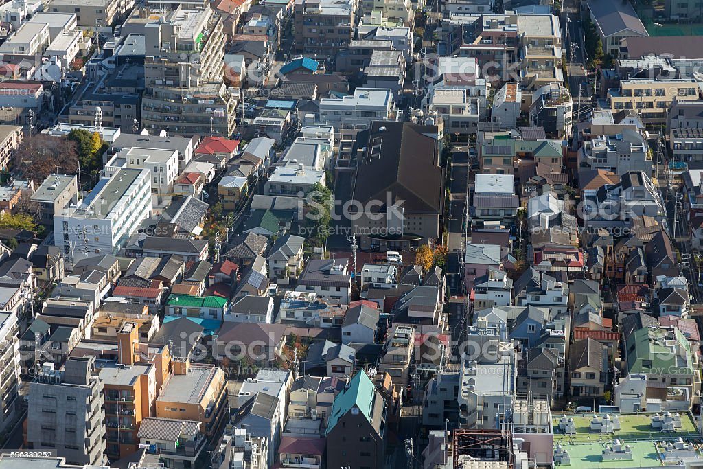 Aerial view Tokyo city residence area royalty-free stock photo