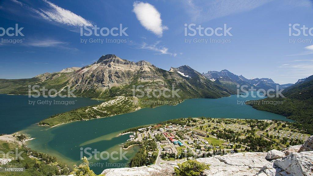 Aerial View Tourist Destination Mountain Town stock photo