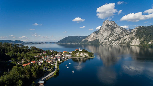 aerial view, Traunsee lake in Alps mountains,