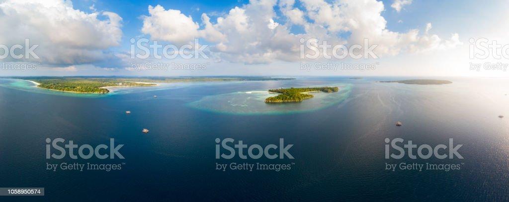 Aerial View Tropical Beach Island Reef Caribbean Sea