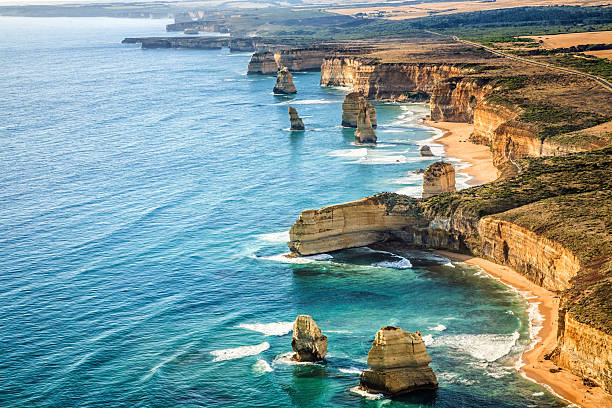 Aerial view Twelve Apostles, Port Campbell National Park at sunset stock photo