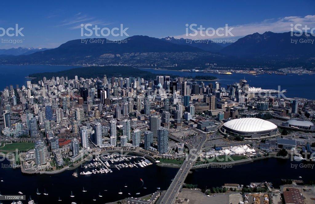 aerial view vancouver city skyline stock photo