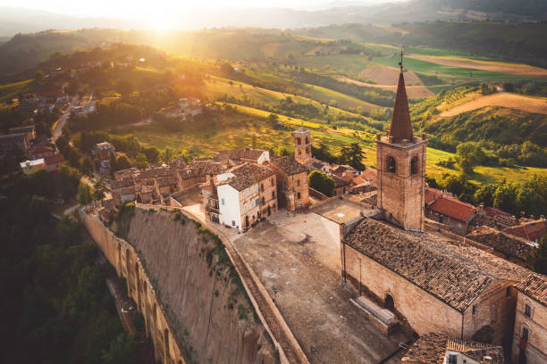 Aerial view view of a beautiful old town in Italy - Marche region stock photo