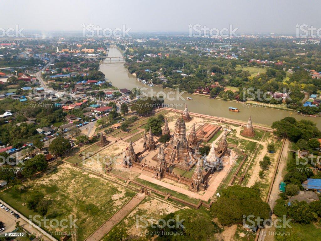 Aerial view Wat Chaiwatthanaram the old temple in Ayutthaya, Thailand. stock photo