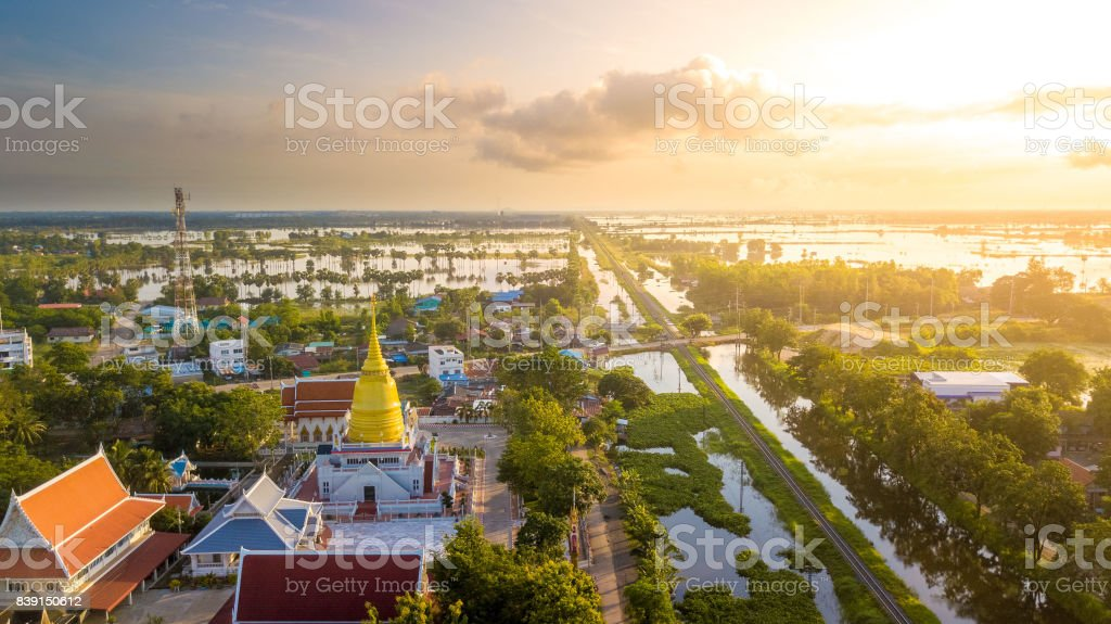 Aerial View Wat Chaiyamongkol Bang Mul Nak Province Phichit Thailand stock photo