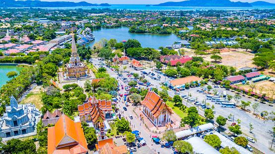 istock Aerial view  Wat Chalong or formally Wat Chaiyathararam in Phuket, Thailand 1002167920