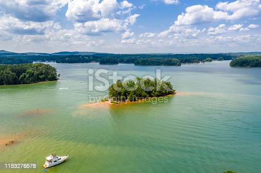 Aerial view water sports and boating in Lake Lanier