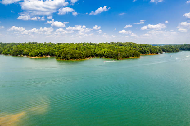 Aerial view water sports and boating in Lake Lanier stock photo