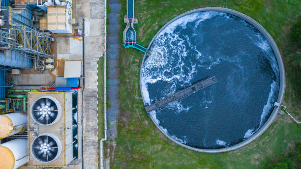 Aerial view water treatment tank with waste water. stock photo