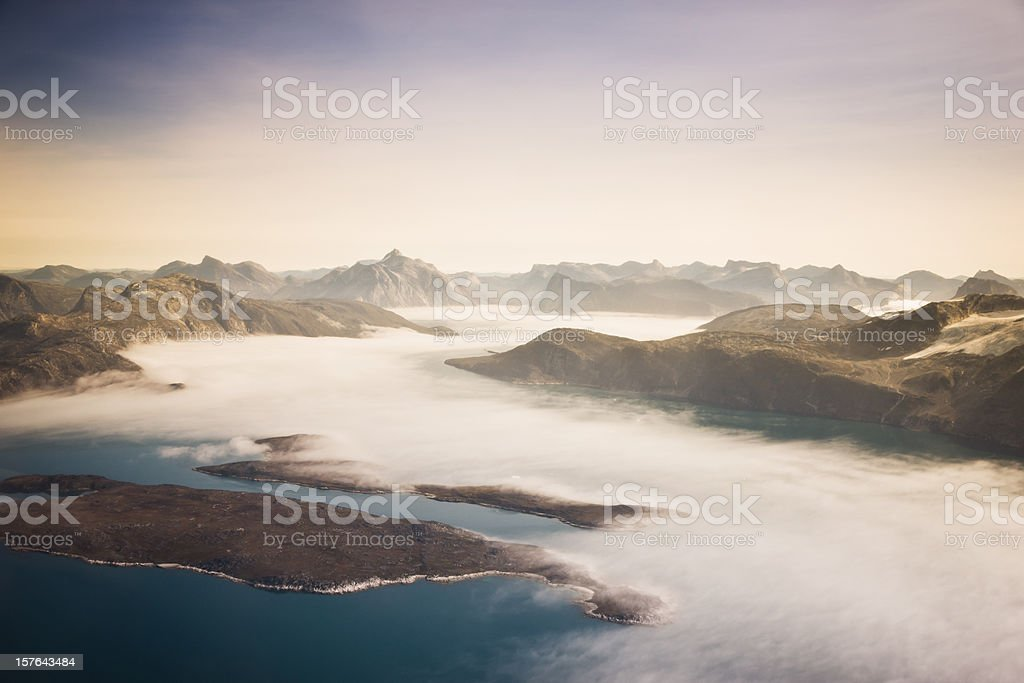 Aerial View West Greenland Coast  Aerial View Stock Photo