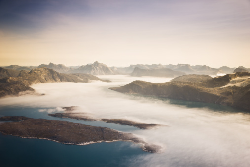 Aerial View West Greenland Coast Stock Photo - Download Image Now