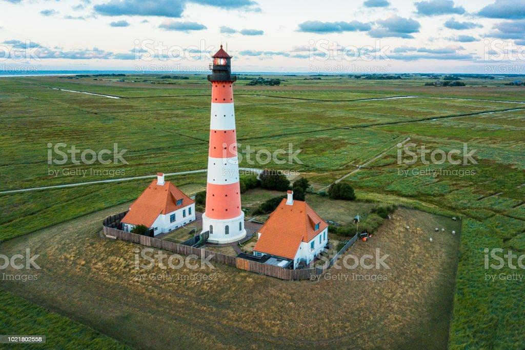 Aerial View Westerheversand Lighthouse Nordfriesland Germany stock photo