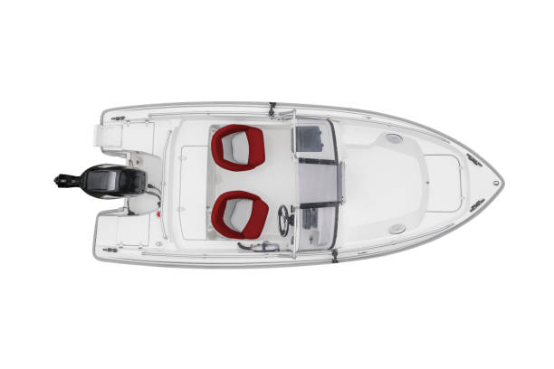 Aerial view white fishing motor boat with red leather seats isolated on white background. Top aerial view fishing boat isolated over white with clipping path stock photo