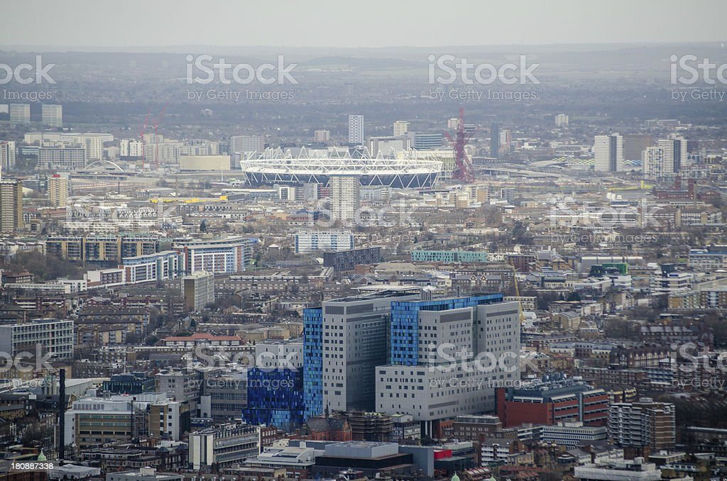 Aerial View Whitechapel and Stratford stock photo