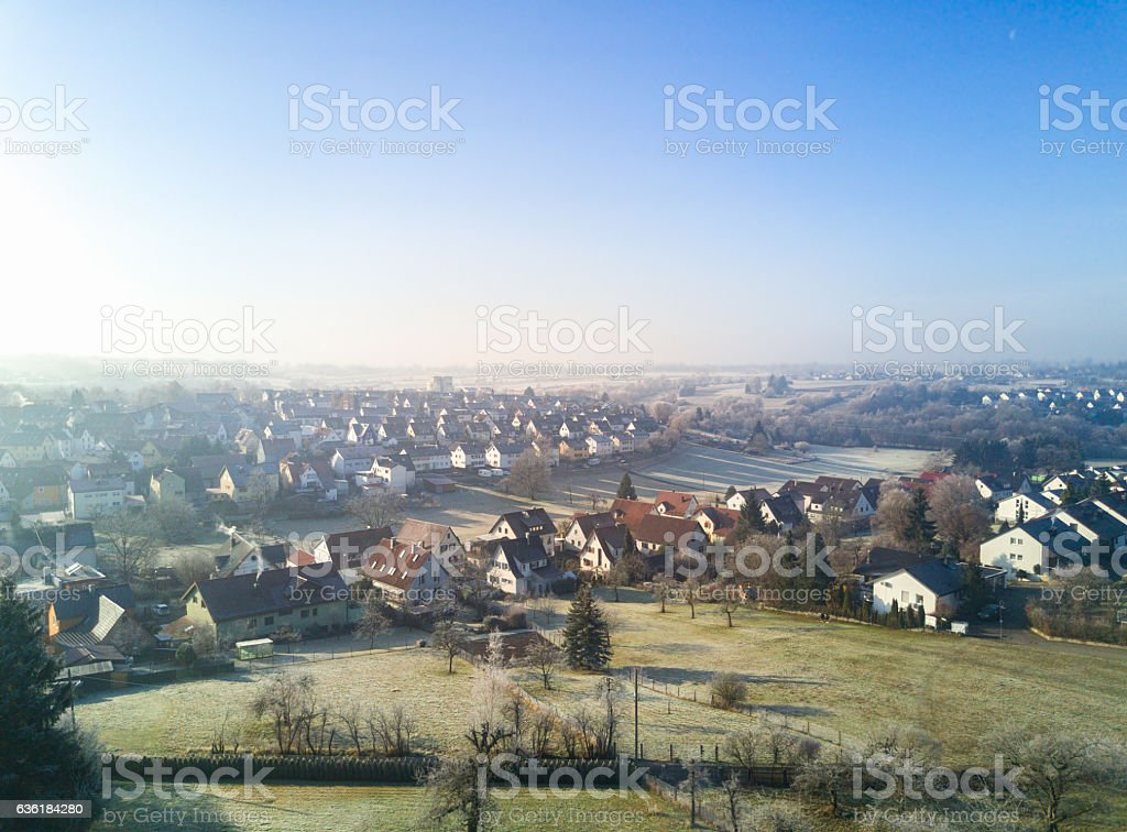 Aerial View Winter Morning Reutlingen Rommelsbach Germany stock photo