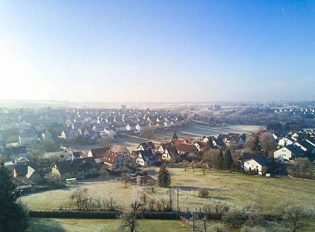 aerial view winter morning reutlingen rommelsbach germany - village stock pictures, royalty-free photos & images