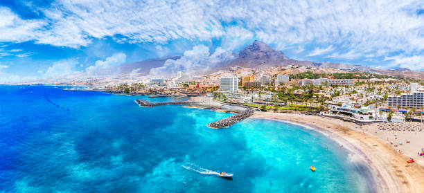 Aerial view with Las Americas beach at Costa Adeje