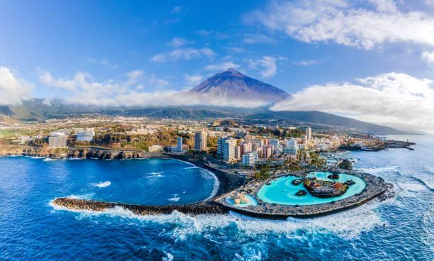 Aerial view with Puerto de la Cruz,Tenerife