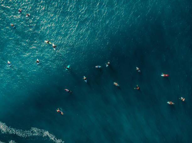 Luftaufnahme mit Surfern und Welle in kristallblauem Ozean. Ansicht von oben – Foto